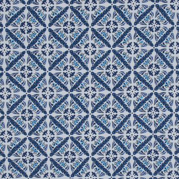 China Blue and White Diamond Floral Printed Stretch Twill Cotton