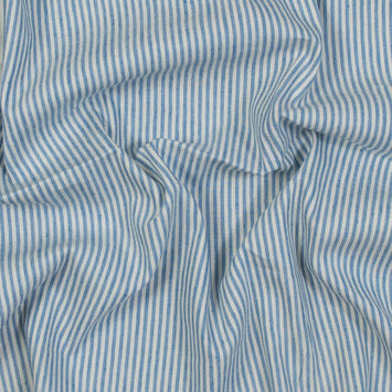 Asturias Striped Blue Stretch Linen Woven
