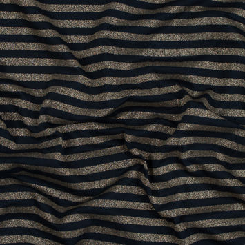 Navy and Metallic Gold Bengal Striped Cotton Jersey