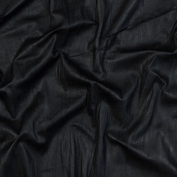 Black Laminated and Wrinkled Faux Suede