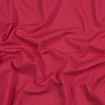 Strawberry Cotton and Polyester Seersucker