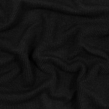 Black Wool Ribbed Knit with Black Scuba Backing