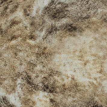 Beige Faux Fur Printed Cotton Twill