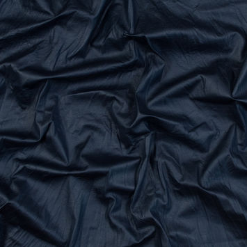 Navy Laminated and Wrinkled Faux Suede