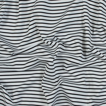 Optic White and Black Striped Stretch Double Knit