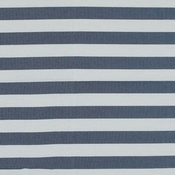 Navy and White Awning Striped Cotton and Acetate Tweed