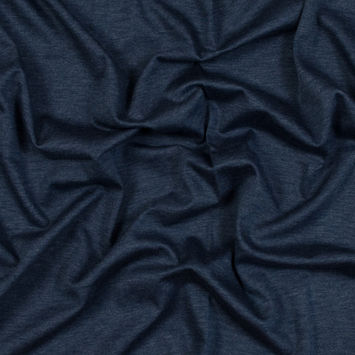 Heathered Navy Double-Faced Stretch Cotton Jersey