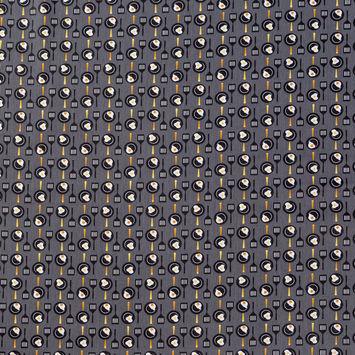 Black, Gray and Yellow Frying Eggs Printed Cotton Shirting