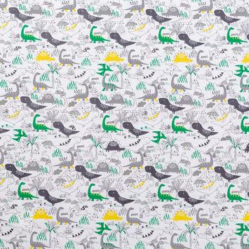 Gray, Green and Yellow Dinosaur Printed Cotton Shirting