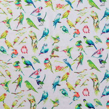 Red and Green Bird Printed Cotton Shirting
