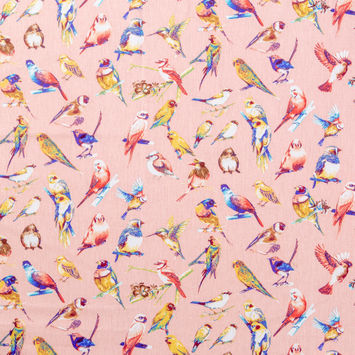 Peach Bird Printed Cotton Shirting