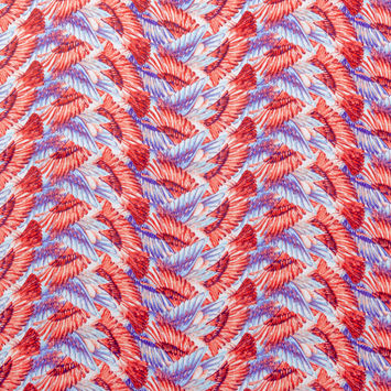 Red and Blue Feather Printed Cotton Shirting