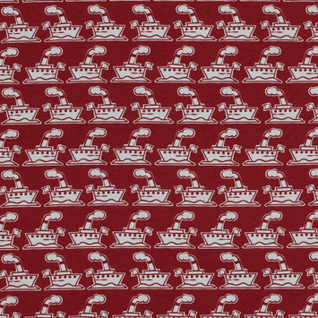 Red Steam Boat Printed Cotton Jersey