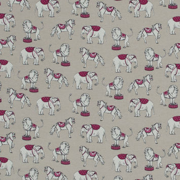 Pink and Taupe Circus Animals Printed Cotton Jersey