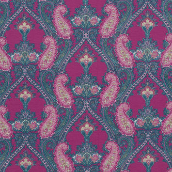 Fuchsia and Teal Pashmina Paisley Cotton Jersey