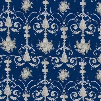 Royal Blue Floral Chandelier Cotton Jersey