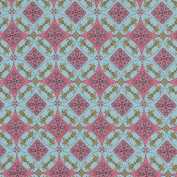 Pink and Sky Blue Medallion Printed Cotton Jersey