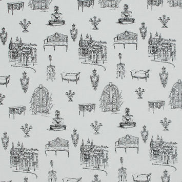 Black and White Toile Cotton Jersey