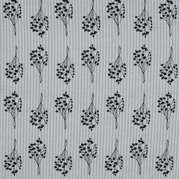 Black and White Foliage Printed Striped Cotton Voile