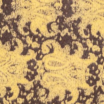 Italian Dusky Citron and Charcoal Paisley Chunky Wool Knit
