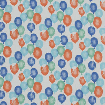 Orange, Blue and Green Balloons Printed Cotton Jersey