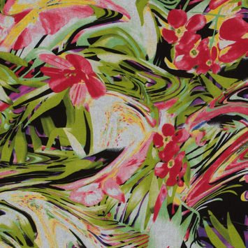 Red and Lime Abstract Floral Printed Linen Woven