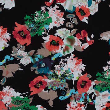 Red, Black and Green Abstract Floral Printed Linen Woven