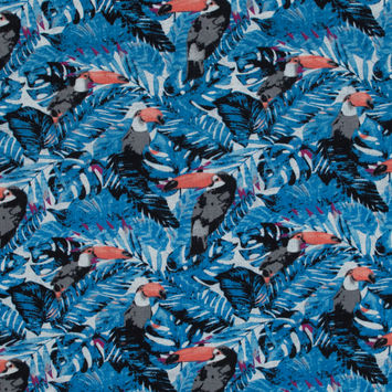 Blue Tropical Toucan Printed Linen Woven