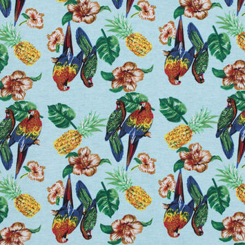 Blue Tropical Parrot Printed Linen Woven