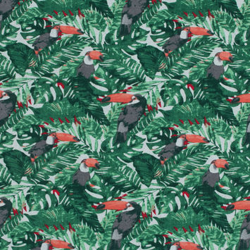 Green Tropical Toucan Printed Linen Woven