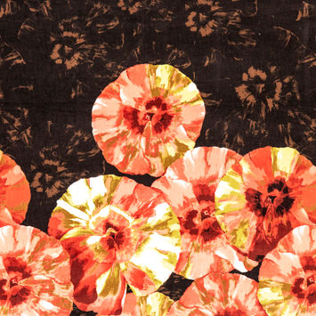 Coral, Yellow and Brown Floral Stretch Corduroy Panel