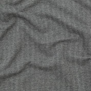 Charcoal Herringbone Cotton French Terry