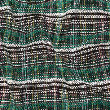 Green, Black and White Plaid Tweed