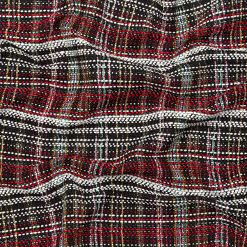 Red, Black and White Plaid Tweed
