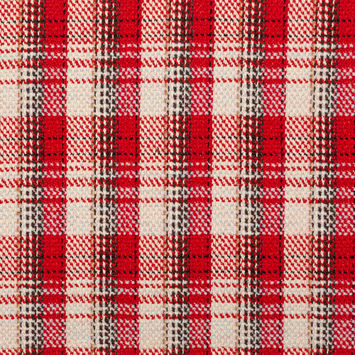 Red and Ivory Plaid Tweed with Sequins