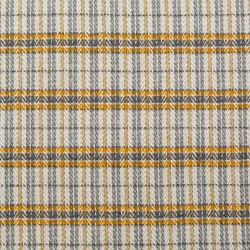 Gamboge and Gray Plaid Polyester and Wool Tweed
