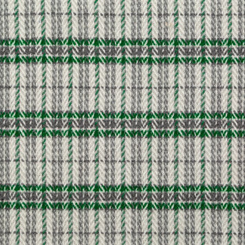Emerald Green and Gray Plaid Polyester and Wool Tweed