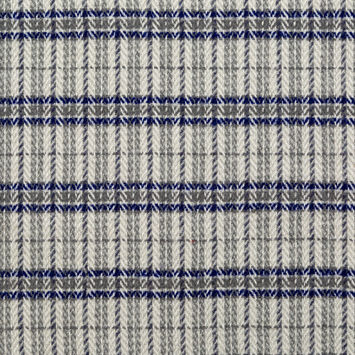 Royal Blue and Gray Plaid Polyester and Wool Tweed