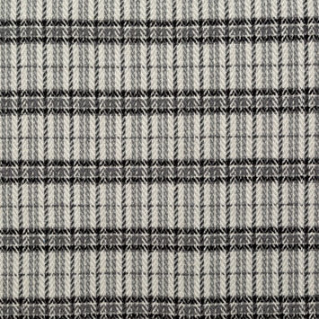 Black and Gray Plaid Polyester and Wool Tweed