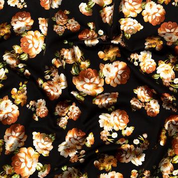 Black Ponte Knit with Orange Floral Foil Design