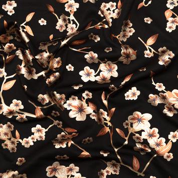Black Ponte Knit with Rust Floral Foil Design