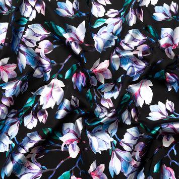 Black Ponte Knit with Blue and Purple Floral Foil Design