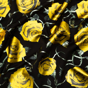 Black Ponte Knit with Yellow Rose Foil Design