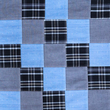 Blue and Gray Patchwork Cotton Madras