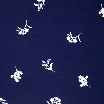Carolina Herrera Navy Stretch Wool Suiting with a White Floral Pigment Paint Design