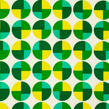 Green and Yellow Geometric Printed Cotton Canvas