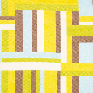 Green, Yellow, Blue and Brown Blocked Striped Cotton Pique
