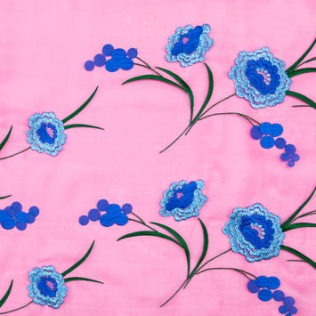 Carolina Herrera Cerise and Metallic Blue Floral Embroidered Silk Organza