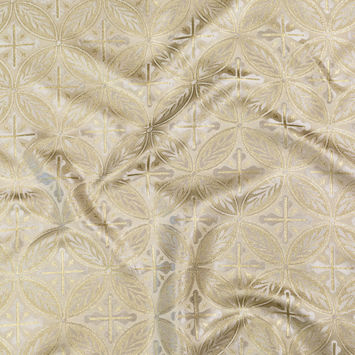 White and Metallic Gold Medallion Jacquard