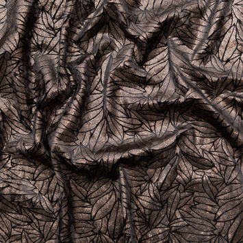 Black Stretch Velour with Metallic Bronze Floral Foil